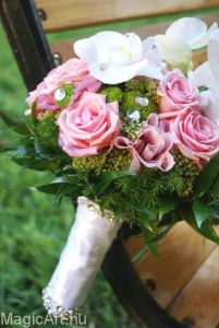 Menyasszonyi csokor pink-fehér