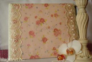 Vendégkönyv rózsamintával, csipkével